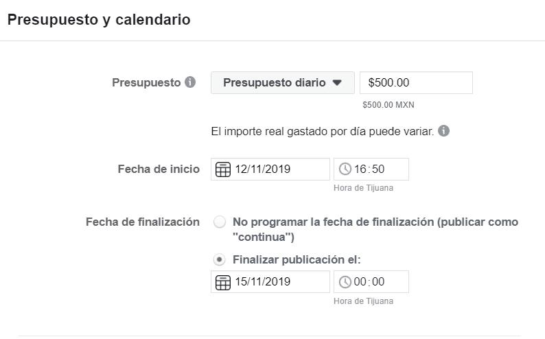 Presupuesto y Calendario para tu anuncio publicitario de facebook